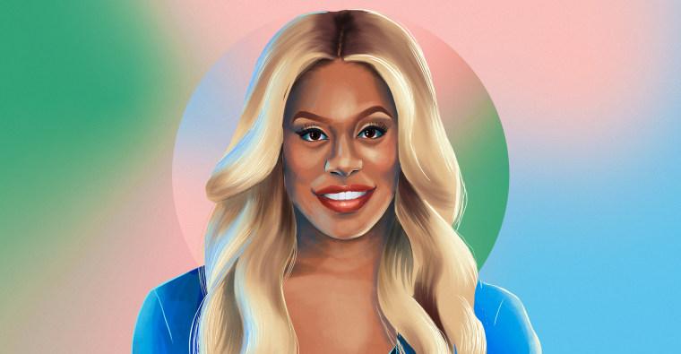 Illustration of Laverne Cox on gradient background