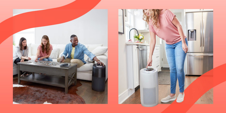 Illustration of two different people using the new Instant Pot Air Purifier