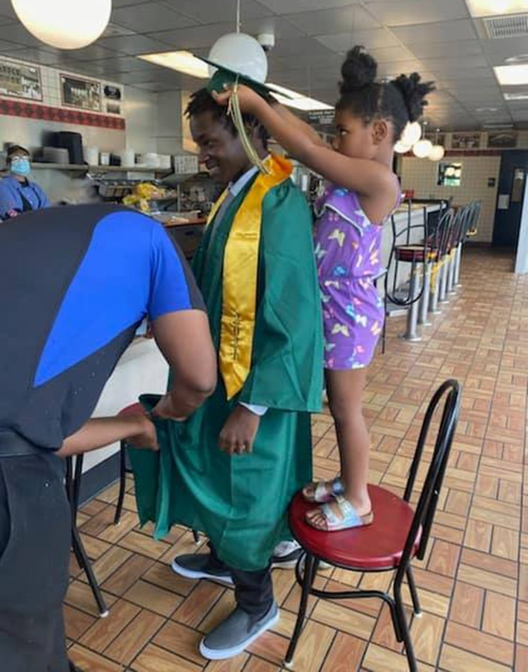 The Waffle House team raced to make sure Harrison got his cap and gown in time for the ceremony.