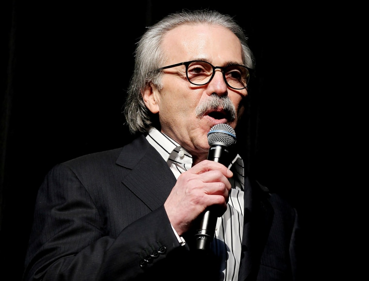 Image: David Pecker, Chairman and CEO of American Media speaks at the Shape and Men's Fitness Super Bowl Party in New York