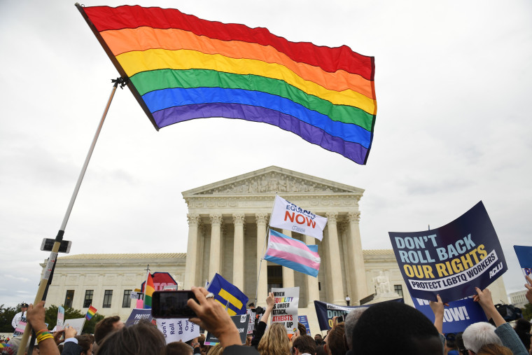 Image: Supporters of LGBTQ rights rally outside the Supreme Court on Oct. 8, 2019.