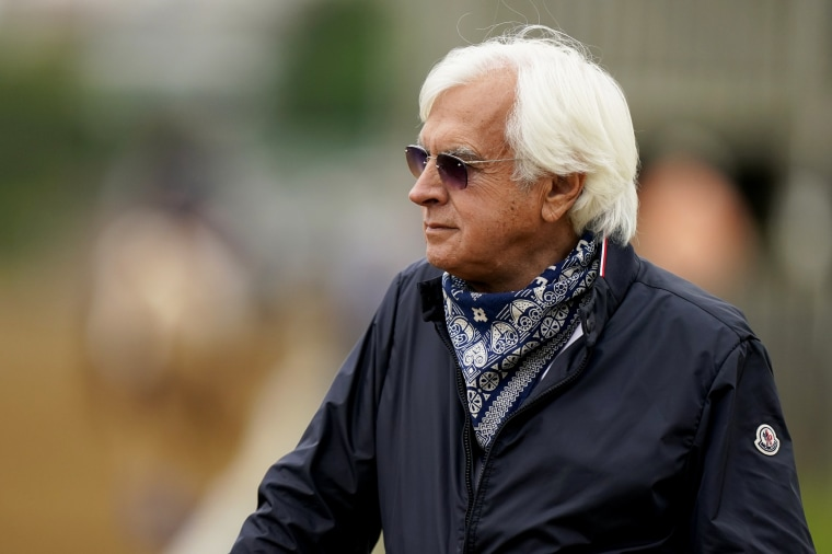Trainer Bob Baffert watches workouts at Churchill Downs on April 28, 2021, in Louisville, Ky.