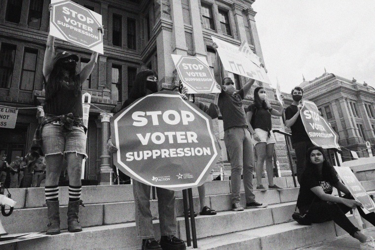 Image: Protest against new voting restrictions in Austin