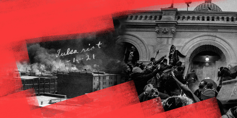 Photo illustration: Red paint over images of smoke billowing from fires during the Tulsa Race Massacre of 1921 and of rioters storming into the Capitol on January 06 2021.