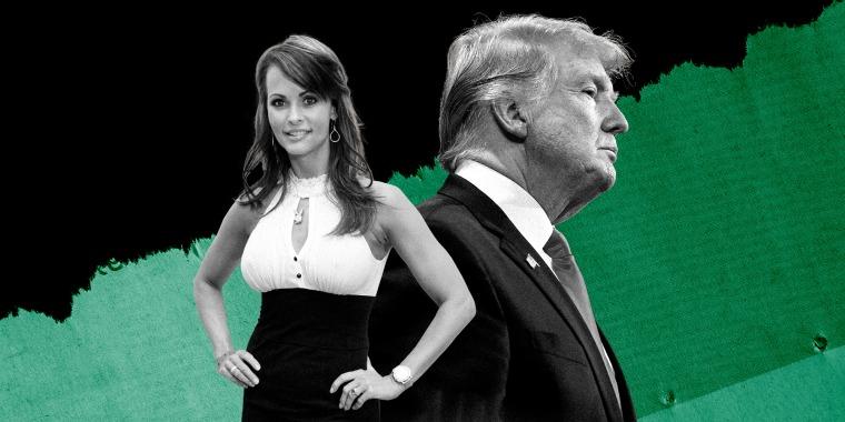 Illustration of Karen McDougal and Donald Trump