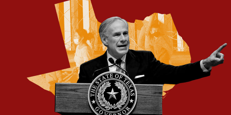Photo illustration: Texas Governor Greg Abbott speaking against the background of the Texas state map with the image of asylum seeking migrants.