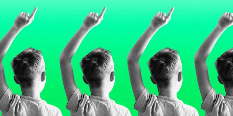 Illustration shows a child raising his hand.