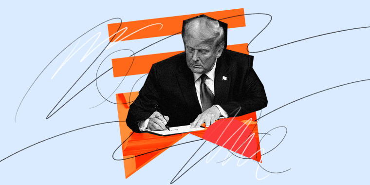 Photo illustration: Former President Donal Trump writing surrounded with scribbles and the Substack logo in the background.