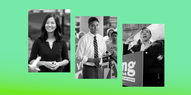 Image: Michelle Wu, Aftab Pureval and Andrew Yang