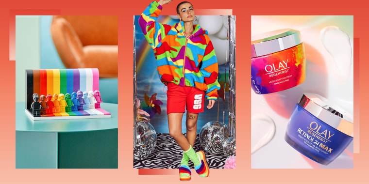 Illustration of Pride Lego's, Ugg Pride merchandise and Olay Pride products
