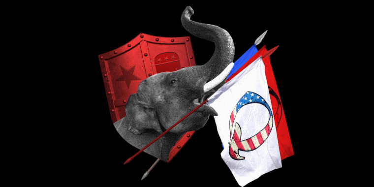 Photo illustration: An elephant holding a flag with QAnon symbol and a shield with the Republican party logo.