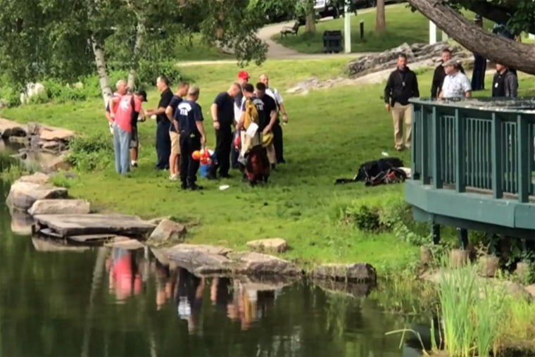 Image: Worcester Police at the scene of a drowning