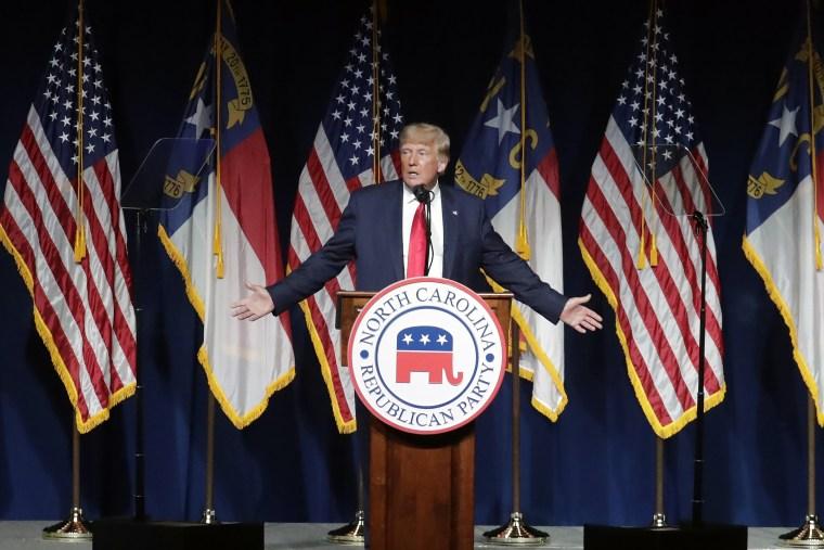 Image: Donald Trump speaks at the North Carolina Republican Convention