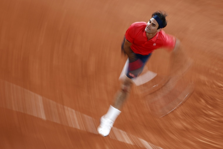 Roger Federer plays against Germany's Dominik Koepfer in the third round of the French Open on June 5, 2021.