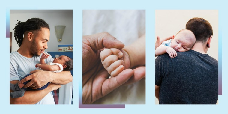 Illustration of two dads holding their newborn children and a dads hand holding a baby hand