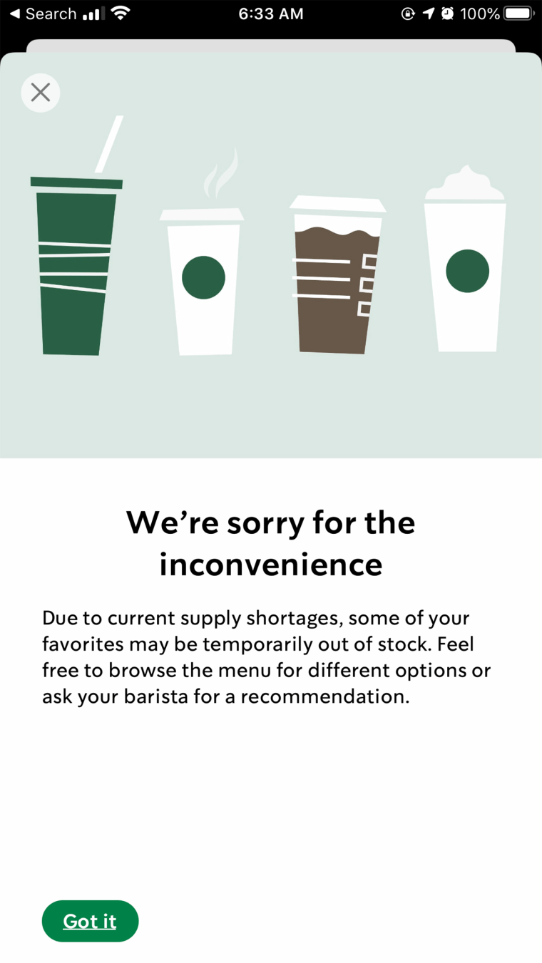 The Starbucks mobile app includes a warning for customers that some items may be out of stock.