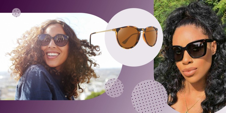 Woman wearing sun glasses and smiling, WOWSUN Polarized Sunglasses and a Woman wearing Diff Eyewear Lizzy Sunglasses