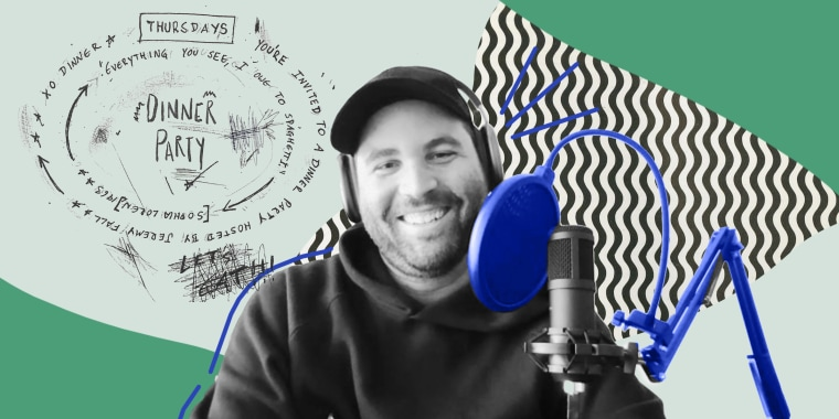 Illustration of Jeremy with a mic on a green background and the logo behind him