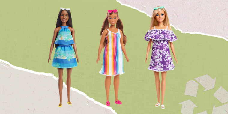 Illustration of three different Barbies made from recycled plastic