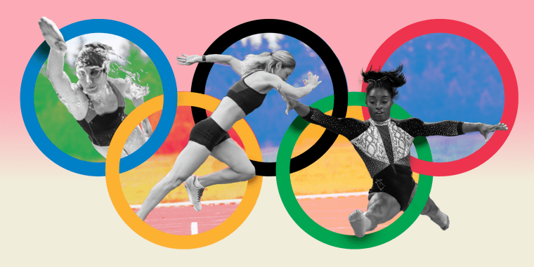 Illustration of athletes on the olympic rings