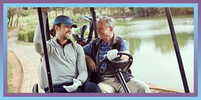 Illustration of a Senior man and his adult son on the golf course