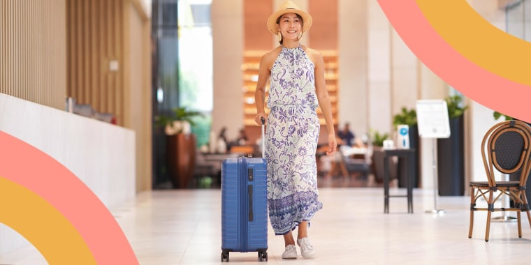Illustration of a Tourist woman with sun hat carrying wheeled luggage walking in front of the hotel reception desk