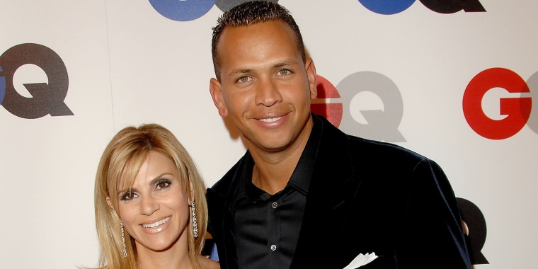 """Major league baseball player Alex Rodriguez and wife Cynthia Scurtis arrive at GQ Celebrates 2007 """"Men Of The Year"""" at the Chateau Marmont Hotel on December 5, 2007 in Hollywood, California."""