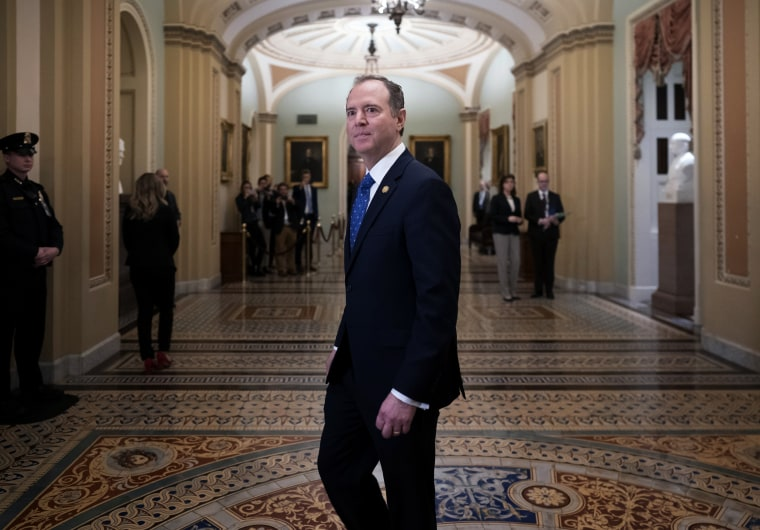Image: House Intelligence Committee Chairman Adam Schiff arrives at the Capitol before the impeachment trial on Jan. 25, 2020.