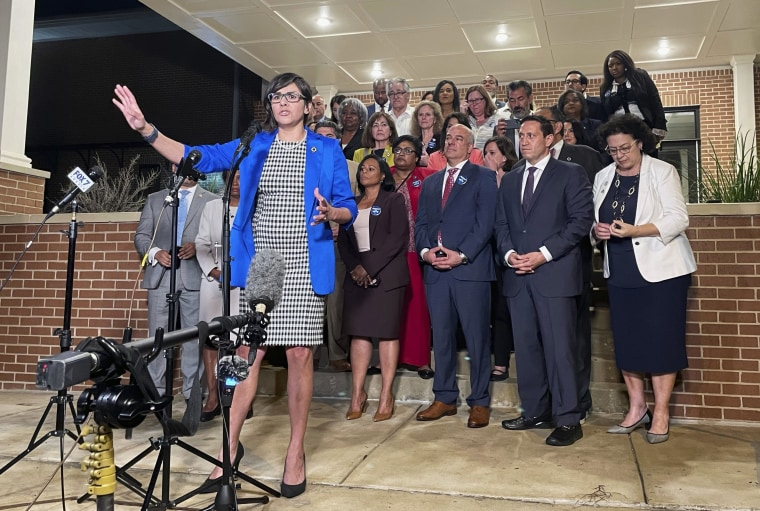 Image: Texas state Rep. Jessica Gonzales speaks during a news conference in Austin on May 31, 2021.
