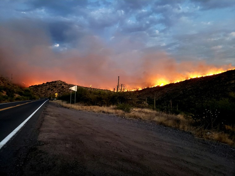 IMage: The Telegraph Fire as seen from Highway 177 facing south, Ariz.