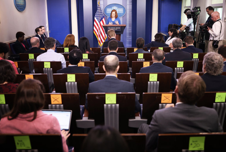White House Press Secretary Jen Psaki answers questions during the daily briefing on May 24, 2021, in Washington.