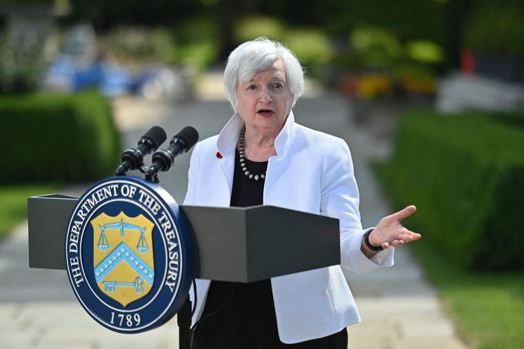 Treasury Secretary Janet Yellen speaks in London on June 5, 2021, after attending the G7 Finance Ministers meeting.