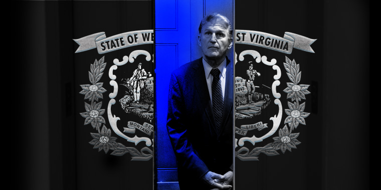 Photo illustration: Senator Joe Manchin stands in an elevator whose doors have the engraving of the West Viriginia state flag.