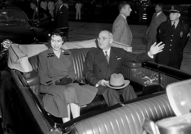 """President Harry S. Truman and Britain's Princess Elizabeth as their motorcade got underway following a reception ceremony at Washington National Airport on Oct. 31, 1951. The Chief Executive welcomed Elizabeth and her husband, Prince Philip, Duke of Edinburgh, with the warm hope that \""""when you leave you will like us even better than when you came.\"""""""