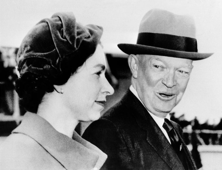 Queen Elizabeth II is welcomed by President Dwight Eisenhower, Oct. 18, 1957 in Washington.