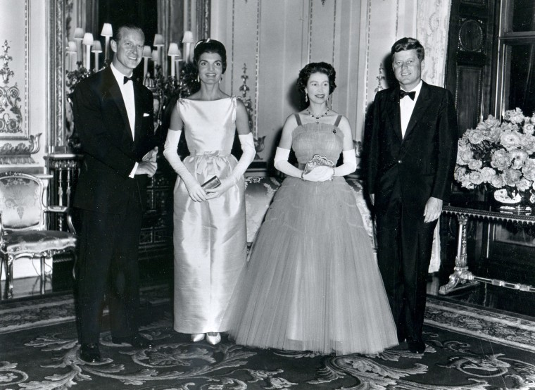 President John F. Kennedy and his wife, first lady Jacqueline Kennedy, with Queen Elizabeth II  and her husband, Prince Philip, Duke of Edinburgh, attend a banquet at Buckingham Palace in London, United Kingdom, June 15, 1961.