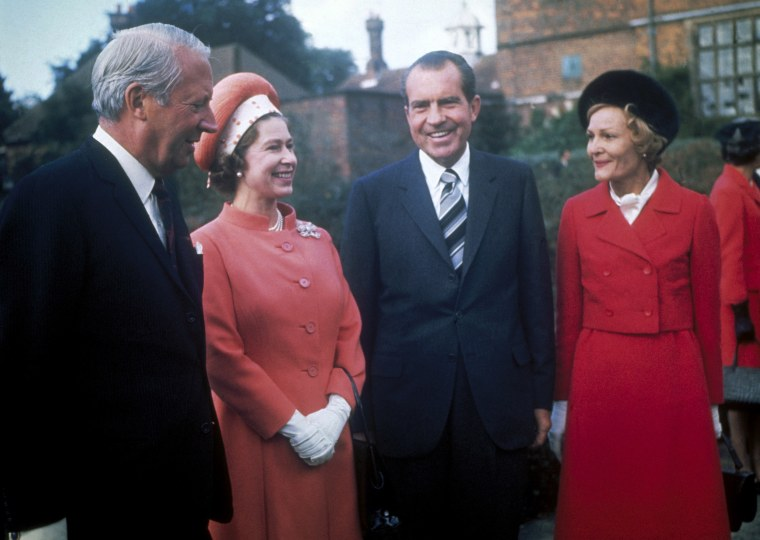 Queen Elizabeth II with British Prime Minister Edward Heath with President Richard Nixon and his wife Patricia at Chequers, the Prime Minister's official country residence, 1970.