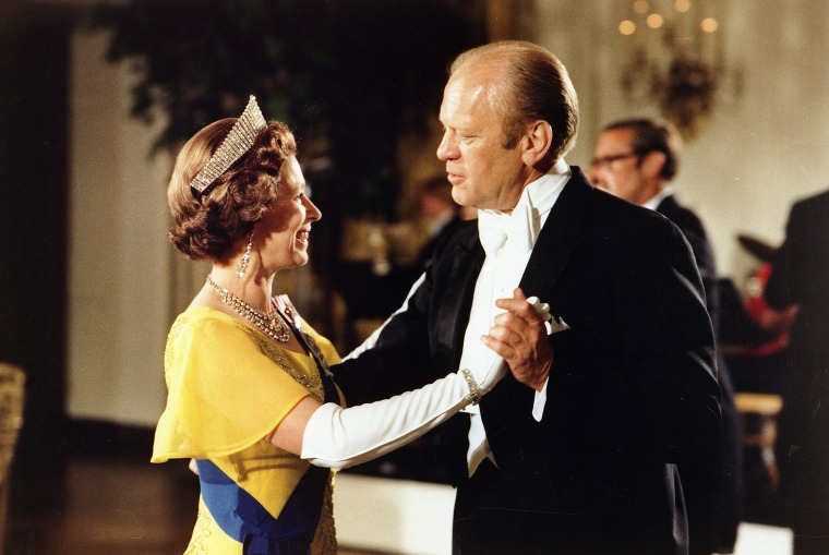 Gerald Ford dancing with Queen Elizabeth II at the ball at the White House, Washington, during the 1976 Bicentennial Celebrations of the Declaration of Independence.