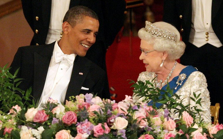 President Barack Obama and Queen Elizabeth II during a State Banquet in Buckingham Palace on May 24, 2011 in London, England. The 44th President of the United States, Barack Obama, and his wife Michelle are in the UK for a two day State Visit at the invitation of HM Queen Elizabeth II.