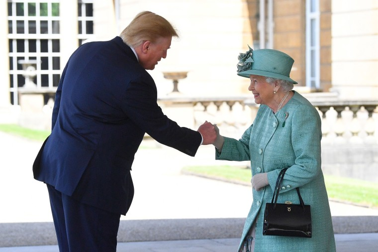 President Donald Trump is greeted by Queen Elizabeth II at Buckingham Palace on June 3, 2019 in London, England. President Trump's three-day state visit will include lunch with the Queen, and a State Banquet at Buckingham Palace, as well as business meetings with the Prime Minister and the Duke of York, before travelling to Portsmouth to mark the 75th anniversary of the D-Day landings.