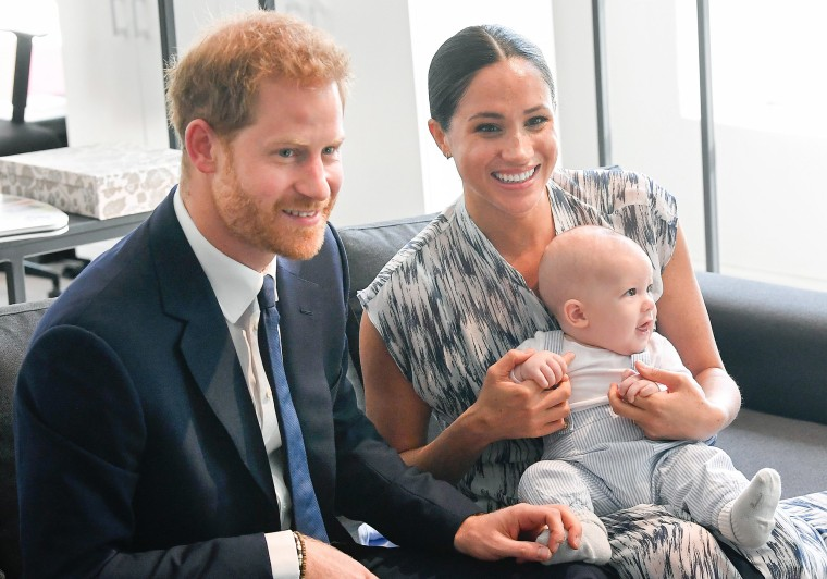 Image: Prince Harry, Duke of Sussex, Meghan, Duchess of Sussex and their baby son Archie Mountbatten-Windsor meet Archbishop Desmond Tutu