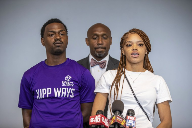Charmaine Turner, right, and Secoriey Williamson, parents of Secoriea Turner, announce a lawsuit against the city of Atlanta and others for a series of actions that resulted in the death of their daughter on June 7, 2021.