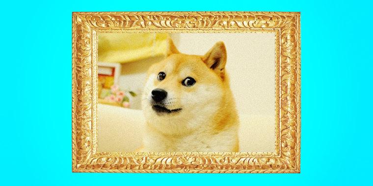 Illustration of the Doge meme in a gilded frame.
