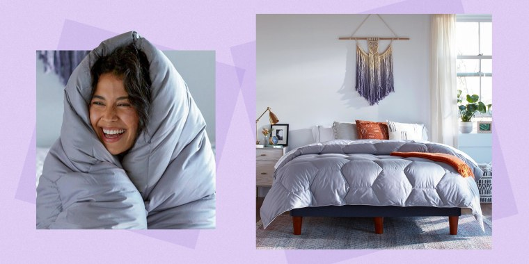Illustration of a bedroom with a bed covered by the new Layla Comforter and a Woman wrapped in her Layla Comforter
