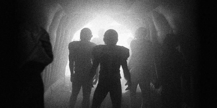 Image: Football players entering the stadium.