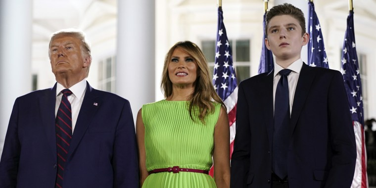 Image: Donald Trump, Melania Trump, and Barron Trump