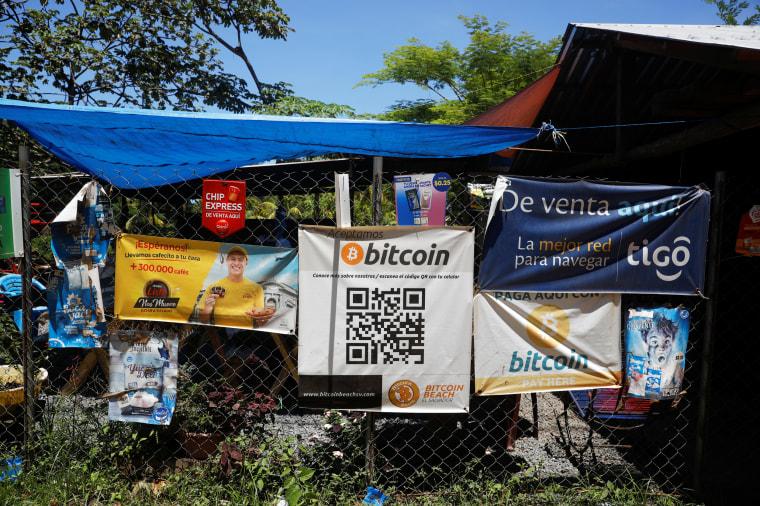 Bitcoin banners adorn a restaurant at El Zonte Beach in Chiltiupan, El Salvador, on June 8, 2021.