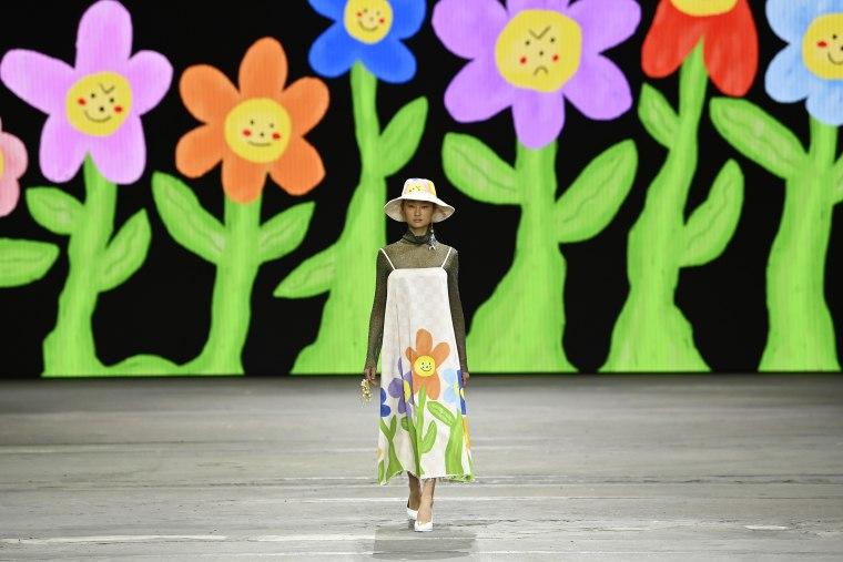 A model walks the runway in a design by Erik-Yvon during Australian Fashion Week on June 01, 2021, in Sydney.