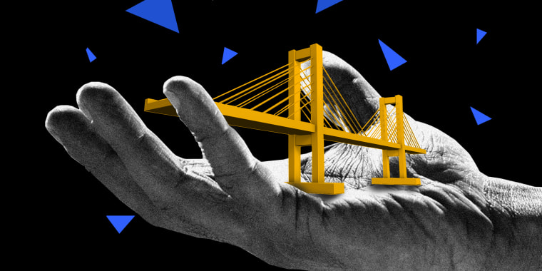 Photo illustration: A hand holding out a miniature model of a bridge.