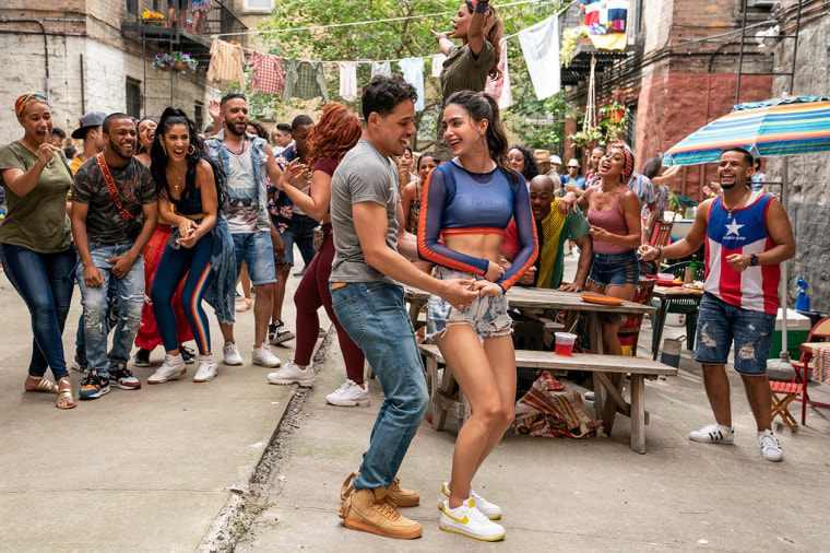 Image: Keomi Key, Melissa Barrera, and Anthony Ramos in In the Heights (2021)